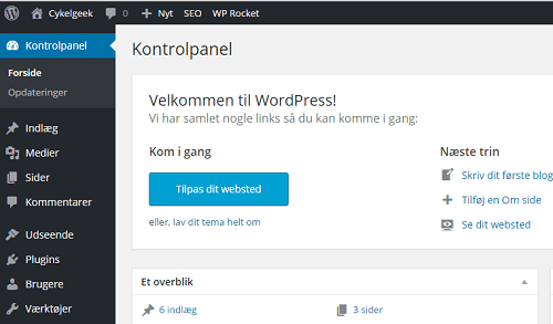 WordPress kontrolpanel