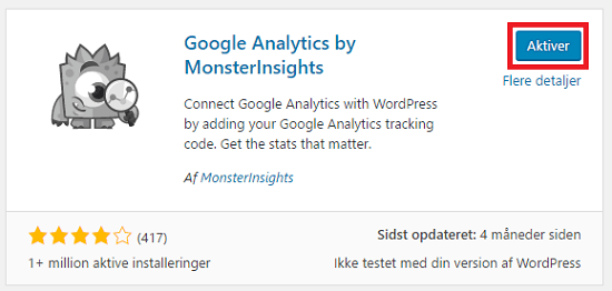 Aktiver plugin Google Analytics