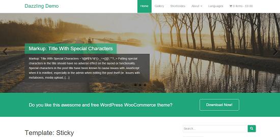 Dazzling WordPress tema