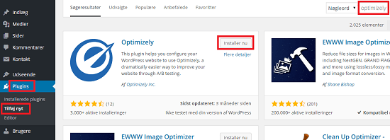 Installer Optimizely WordPress plugin