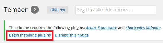 Installer anbefalede plugins