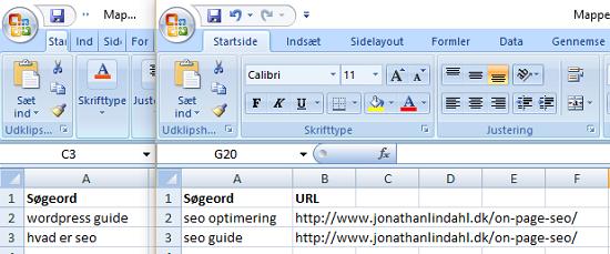 Excel søgeord