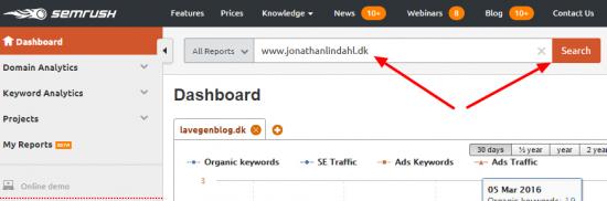 Indsæt URL Semrush