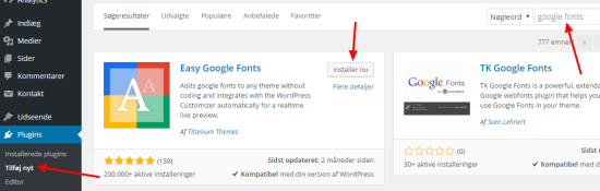 Installer Easy Google Fonts