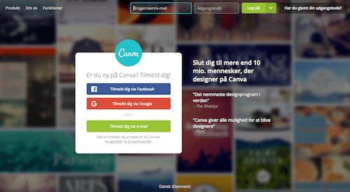 Opret en Canva profil gratis