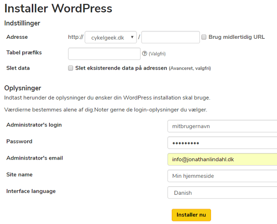 Installer WordPress hos Unoeuro